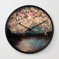help Wall Clocks featuring Love Wish Lanterns by Paula Belle Flores