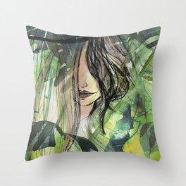 Girl in jungle Throw Pillow