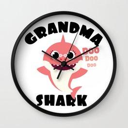 Grandma Shark design Gift - Cute Baby Shark Matching Family Wall Clock