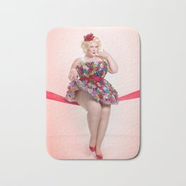 """""""Put a Bow On It"""" - The Playful Pinup -  Christmas Bows Curvy Pin-up by Maxwell H. Johnson Bath Mat"""