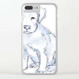 Pit Bull Puppy (for Kerry), watercolor Clear iPhone Case