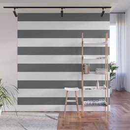 Simply Striped in Storm Gray and White Wall Mural