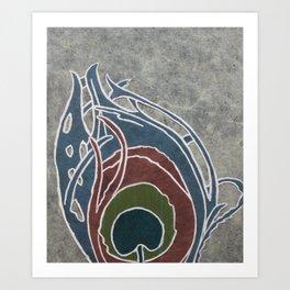 Noueau Peacock Feather Art Print