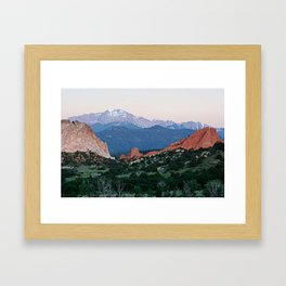 Sunrise at Garden of the Gods and Pikes Peak Framed Art Print