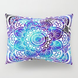 Mandala : Bright Violet & Teal Galaxy Pillow Sham