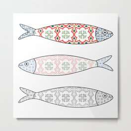 Traditional Portuguese icon. Colored sardines with typical Portuguese tiles patterns. Vector illustr Metal Print