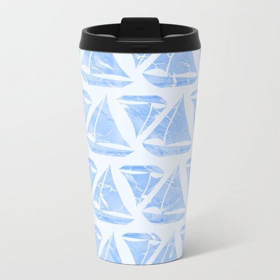 Blue Sailing Boats Water Pattern Metal Travel Mug