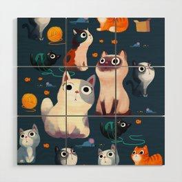 Cat Print Wood Wall Art