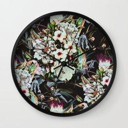 Dark flowery colorful bouquet 01 Wall Clock