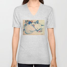 Cat sleeping with flowers Unisex V-Neck