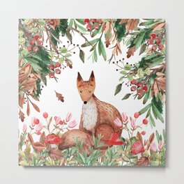 Art Watercolor, Cute, Fox and Forest Art Metal Print