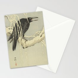 Crow On a Snowy Branch - Ohara Koson [Shoson] (1877-1945) - Japanese woodblock print Stationery Cards