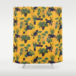 Cats and Houseplants: Yellow Shower Curtain