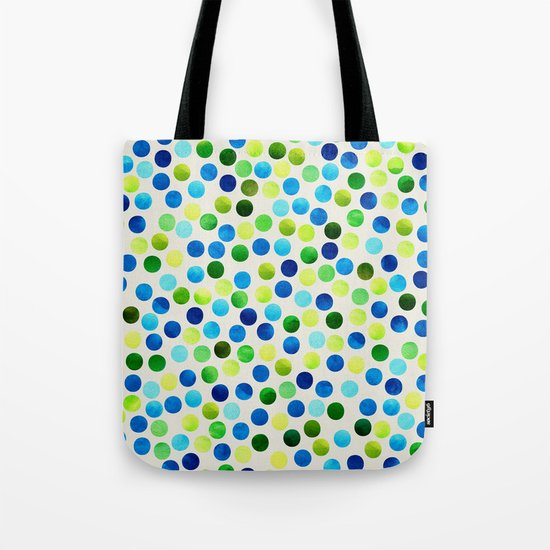 Watercolor Dots_Aqua by Jacqueline and Garima Tote Bag