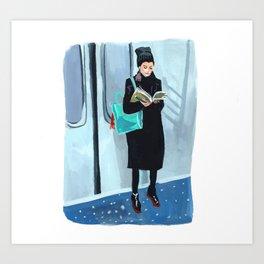 Studying on the Subway Art Print
