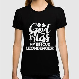 God Bless My Rescue Leonberger Paw Print for Dog Walker Gift T-shirt