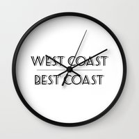 west coast Wall Clocks featuring West Coast Best Coast by Emma Reif Design