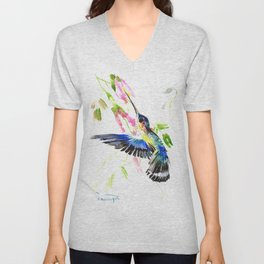 Flying Blue Hummingbird Unisex V-Neck