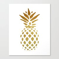 golden Canvas Prints featuring Golden Pineapple by Pati Designs