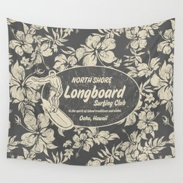 Club Surfing Longboard Logo and Hibiscus Hawaiian Print  Wall Tapestry