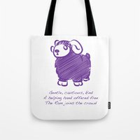 ram Tote Bags featuring Ram by Gothic Panda