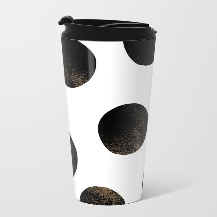 Black Polka Dots Metal Travel Mug