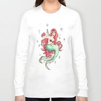 mucha Long Sleeve T-shirts featuring Mucha-esque Mermaid by Beth Aucoin