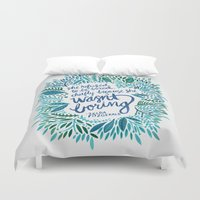 fitzgerald Duvet Covers featuring Zelda Fitzgerald – Blue on White by Cat Coquillette
