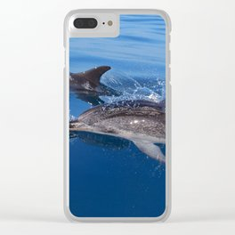 Mother and baby spotted dolphin Clear iPhone Case