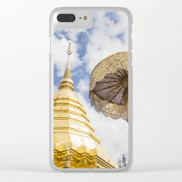 Golden Chatra and beautiful stupa of Doi Suthep temple on a bright blue day with white clouds. Clear iPhone Case