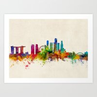 singapore Art Prints featuring Singapore Skyline by artPause