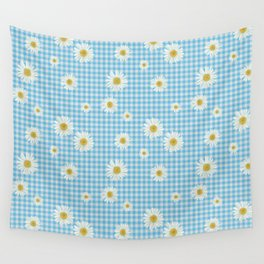Daisies On Blue Gingham Wall Tapestry