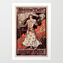 """Vintage French Poster for play """"Jeanne d'Arc"""" Art Print"""