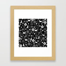 Christmas seamless pattern new year elements on black background Framed Art Print