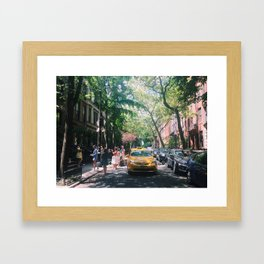Yellow Taxi Cab in Manhattan Framed Art Print