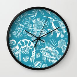 Sea Critters with Blue Background Wall Clock