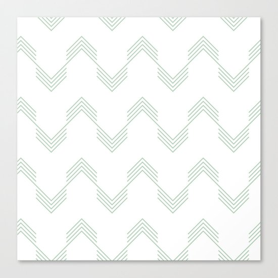 Deconstructed Chevron in Pastel Cactus Green on White Canvas Print