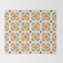 Mid Century Modern Abstract Star Dot Pattern 441 Orange Brown Blue Olive Green Throw Blanket