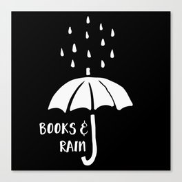 Books and Rain - Black and White (Inverted) Canvas Print