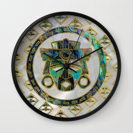 Tribal Ethnic  Mask Gold on Abalone Shell and Pearl Wall Clock