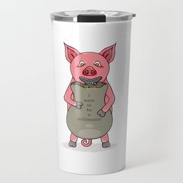 pig and bag with gold coins Travel Mug