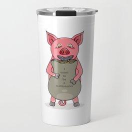 pig and bag with gold coins Travel Mug