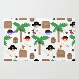 Seamless pirate colorful kids retro background pattern Rug