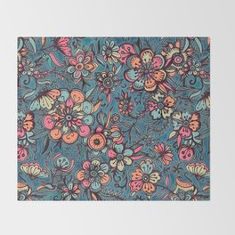 Sweet Spring Floral - melon pink, butterscotch & teal Throw Blanket