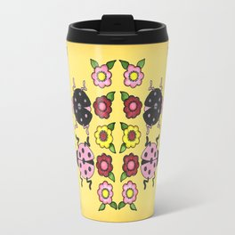 Ladybugs with Flowers Travel Mug