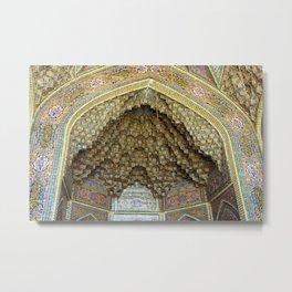 Persian Art Nasir-al-Molk Mosque Entrance Door Facade Tile Mosaic, Shiraz Metal Print