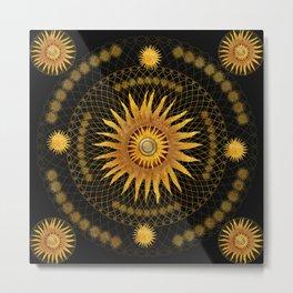 """""""Black & Gold Vault Mandala"""" Metal Print"""