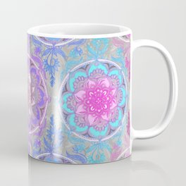 Pink, Purple and Turquoise Super Boho Doodle Medallions Coffee Mug