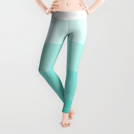 White to Turquoise Ombre Stripes Leggings