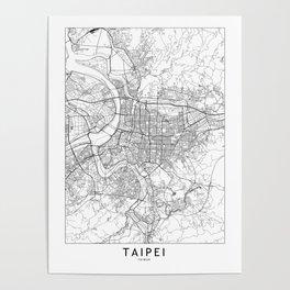 Taipei White Map Poster